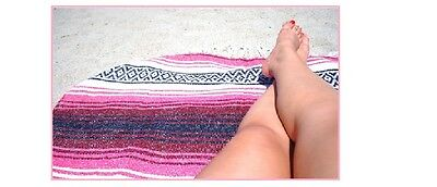 Authentic Mexican Falsa Blanket Hand Woven Mat Blanket 72L x 48W inches Hot Pink