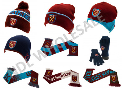 WEST HAM FC Knitted Gloves Knitted Hat Scarf Birthday Christmas Gift