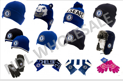 CHELSEA FC Knitted Gloves Knitted Hat Scarf Ear Muffs Birthday Christmas Gift