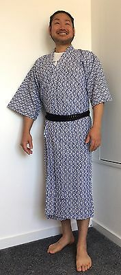 Authentic Japanese cotton nemaki for men, dressing gown, good cond., M (G1589)