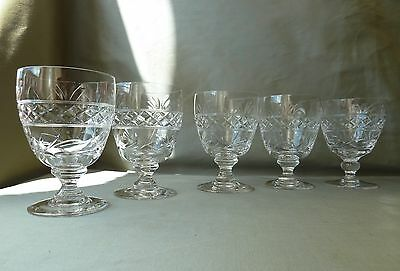 5 Stuart Crystal Imperial Cut Big Water Glasses, Signed, h12,4cm