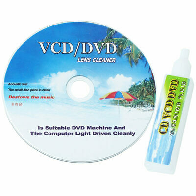 CD DVD Drive Player Lens Laser Head Dirt Cleaner Cleanning Disc & Fluid New X 1
