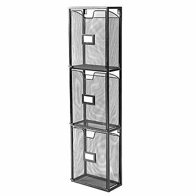 3 Drawers Metal Mesh Magazine Rack / Wall Mount Document Brochure Holder with