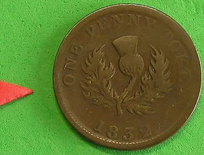 L-too: 1832 NOVA SCOTIA ONE PENNY TOKEN ~~ GORGEOUS CHOCOLATE BROWN COLOR