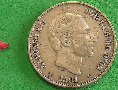 L-too: 1881 SPANISH PHILIPPINES 50 CENTIMOS ~~  .835 SILVER ~ ONLY 2.480 MILLION