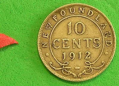 L-too: NEWFOUNDLAND 1912 10 CENTS  ~~ MINTAGE ONLY 150,000 ~~ .925 STERLING SILV