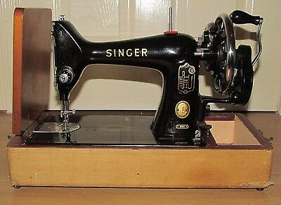 Vintage SINGER 99K SEWING MACHINE Manual (sold AS FOUND) with Carry Case & Oil