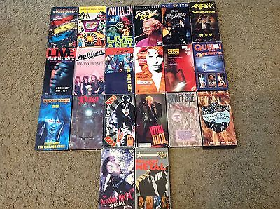 HUGE LOT OF  36 VINTAGE 80's METAL AND ROCK CONCERT MUSIC VIDEOS... SOME RARE