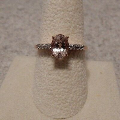 Size 9 Genuine Morganite & White Zircon 10K Rose Gold Ring ATGW 1.29cts