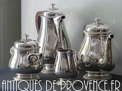 GALLIA Christofle Antique French Coffee Tea set / 4 pieces Silverplated MINT