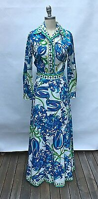 Emilio PUCCI 1960s Vintage Cotton Top and Maxi Skirt Flower Print Shades of Blue