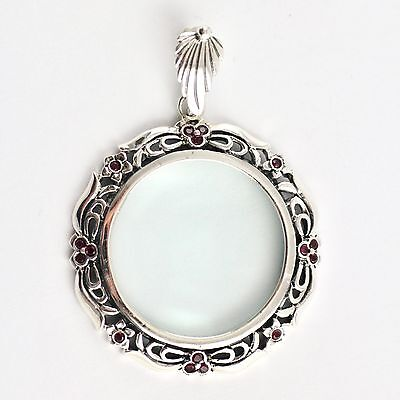 Natural Red Ruby Floral Magnifying Glass Pendant 925 Sterling Silver Hallmarked