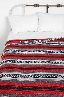 """Xmas Authentic Mexican Falsa Blanket Hand Woven Mat Bed Blanket 76L x 53W """" Red"""