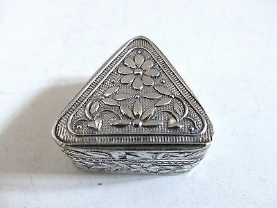 SUPERB ANTIQUE STERLING SILVER PILL BOX with FLOWERS