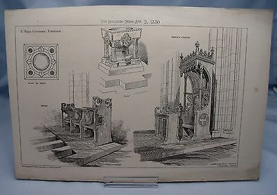 ST.MARY'S CATHEDRAL EDINBURGH 19th Century Victorian Architecture Plate 1880*
