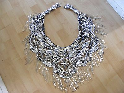 Black Silver Beaded Sequin Large Scarf Collar BELLY DANCER Wrap Sarong India