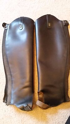 Black Leather Tred Step Gaiters Calf 14in/35cm, Length 18in/47cm