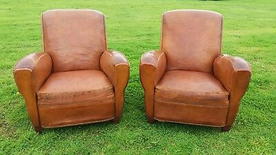 French Vintage Leather Club Chairs. A Pair.