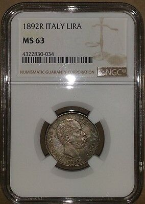 1892-R Italy Italian Lira NGC MS 63 TOP POPULATION! Finest Example Known. RARE!
