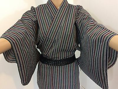 Authentic Japanese kimono for women, medium, imported from Japan, good c.(E1594)