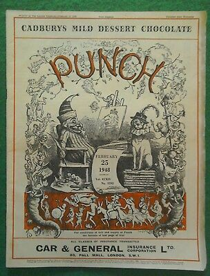 VINTAGE 'PUNCH' MAGAZINE - FEBRUARY 25th 1948 - VOL No 5592 CADBURYS CHOCOLATE