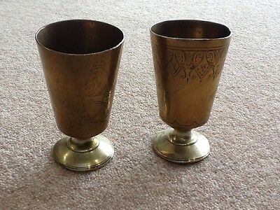 Vintage Brass Cups In A Pair 9cms Tall