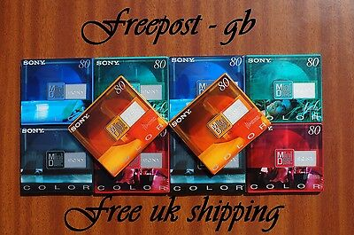 10 x SONY COLOURED DIGITAL AUDIO MINI DISCS MDW-80 MINS SHOCK ABSORBING SYSTEM