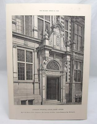 SCHOOL BOARD OFFICES Antique 19th Century Victorian London Architecture Plate*