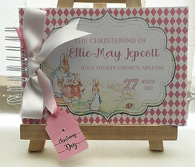 PERSONALISED PETER RABBIT CHRISTENING BABY SHOWER BIRTHDAY GUEST BOOK PHOTO pink