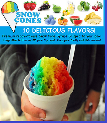 Snow Cone Machine Syrup *PICK 3 FLAVORS* Supply Kit - 75 servings! 32oz Quarts!