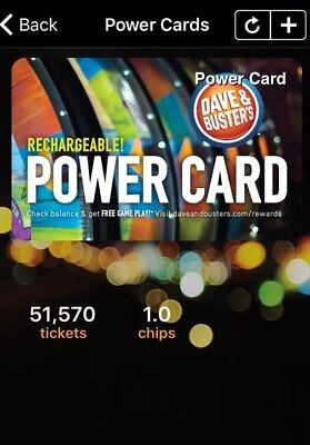 Dave and Busters Power Card 51,570 Tickets