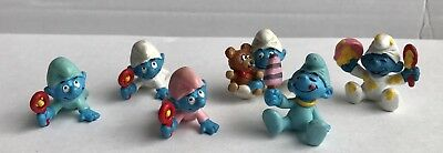 6 BABY SMURF PVC Figures Pink Blue White Teddy Bear Ice Cream