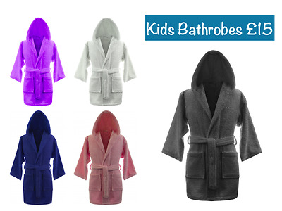 Kids Boys Girls 100% Egyptian Cotton Bathrobes Terry Towelling Hooded Bath Robe