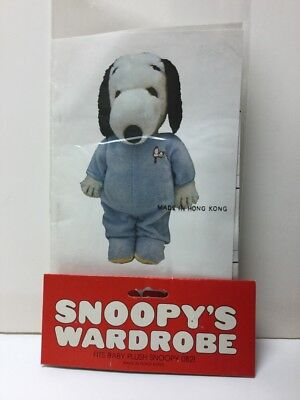 1978 Snoopy's Wardrobe Blue Sleepers Outfit For Baby Plush SNOOPY 0821