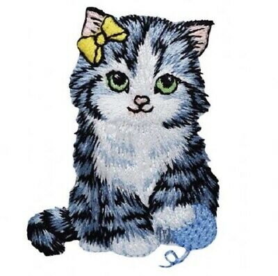 """Cat Applique Patch - Yarn, Bow, Kitten Badge 2-3/8"""" (Iron on)"""