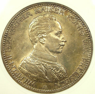 1913-A Germany Prussia 5 Mark ANACS MS62 RARE Coin