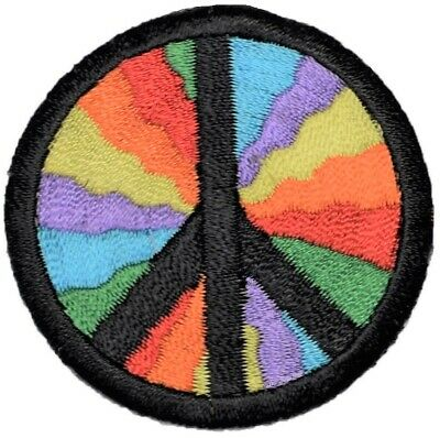 """Iron on Peace Sign Applique Patch Neon Blue 2.25/"""""""