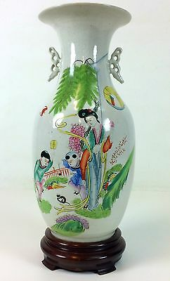 Vase. Enameled Porcelain. Base In Wood. Republic Period. China. Circa 1920