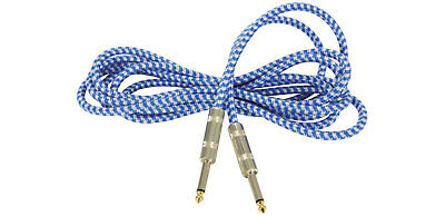 Premium Tweed Guitar Lead Vintage Cable Electric Bass Acoustic Blue/White 3m NEW