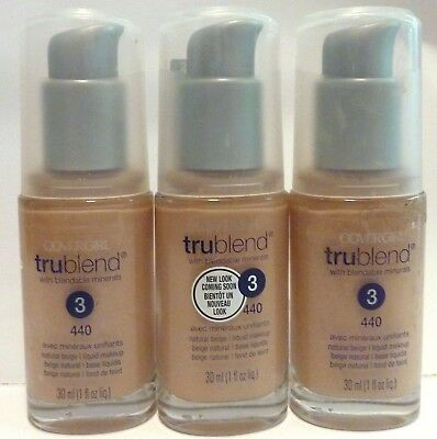 COVERGIRL TRUBLEND liquid Foundation 3 pack 440 Natural Beige Melbourne seller