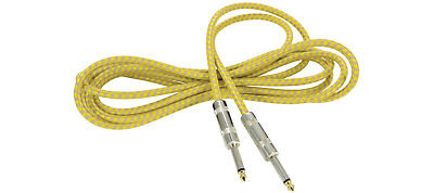 Premium Tweed Guitar Lead Vintage Cable Electric Bass Acoustic Grey/Gold 3m NEW