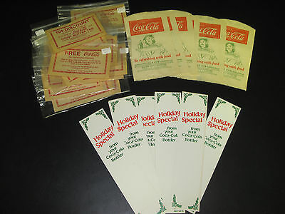 Nice Lot Of Vintage 1950s -1960s Coca Cola Items Coke Coupons, Bottle Bags - NOS