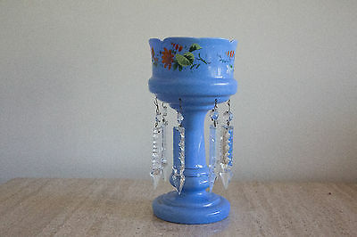 Antique VICTORIAN blue Bristol hand painted Glass Luster (13)