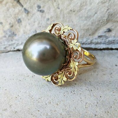 Vintage Antique Retro Large Tahitian Pearl 15mm Black Pearl Art Deco Ring  PSCO