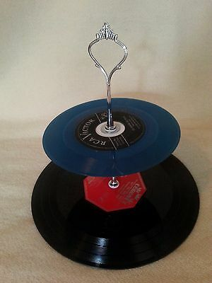Coloured 45 Vinyl Record Cupcake Stand 2 Tier Retro Rockabilly Rock n Roll Cake