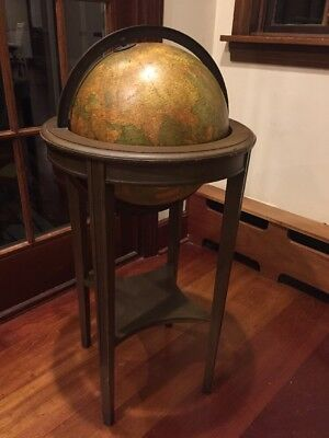 """Antique Weber Costello Co. 12"""" Rotating Globe With Walnut? Stand"""