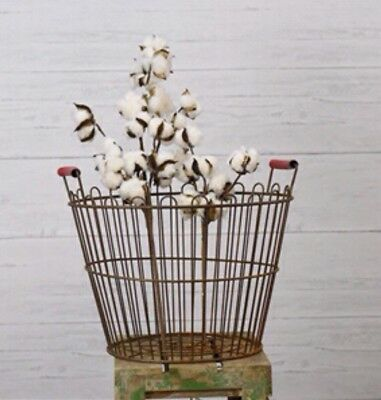 New Antique Vintage Wire Egg Basket Rusty Metal with rubber handles