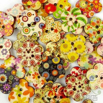 10/50/200/500pcs Mixed Wood Flower Shape Buttons 24MM Craft Sewing DIY Scrapbook