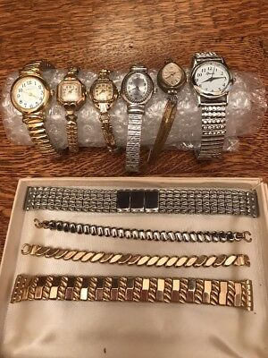 Vintage Wrist Watches and Bands, Lot of 10 Gold/Silver Colored