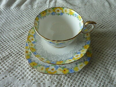 CROWN STAFFORDSHIRE ENGLAND CUP SAUCER PLATE TRIO Ca 1906+ FLORAL GILDED